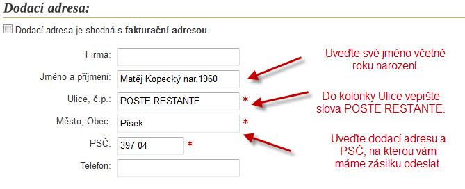 Zaslání Českou poštou - zdarma | Zlaté rezervy